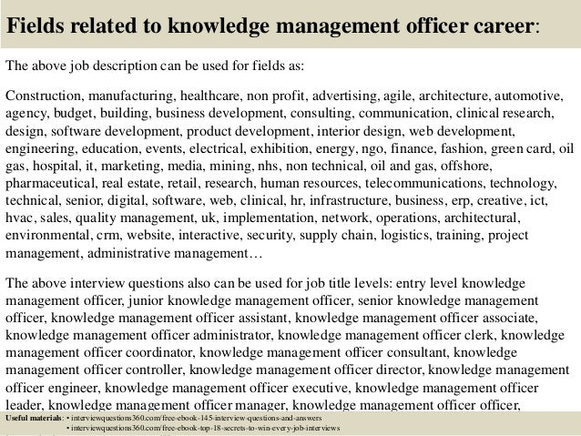 top  knowledge management officer interview questions  answers