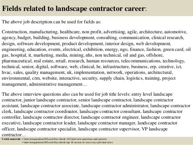 Top 10 landscape contractor interview questions and answers – Contractor Job Description