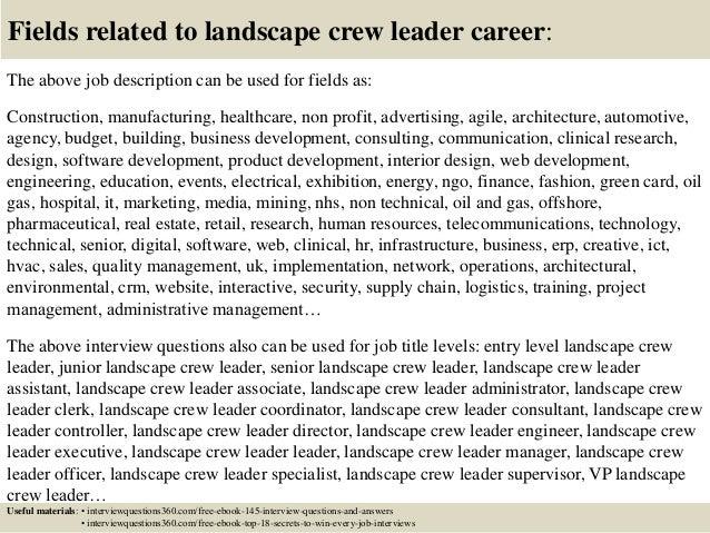 landscape maintenance job description