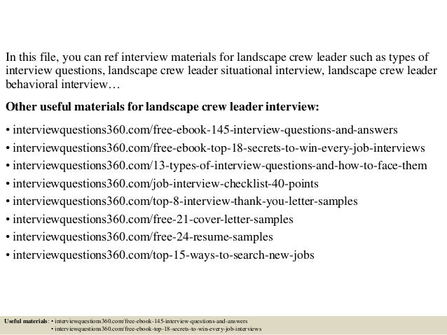 Top 10 landscape crew leader interview questions and answers