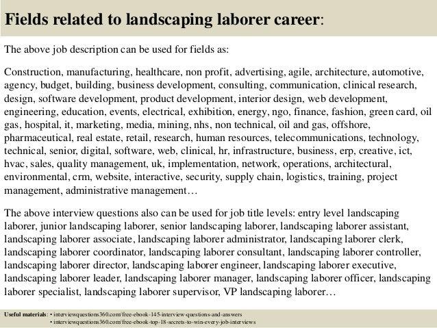 Top 10 landscaping laborer interview questions and answers – Construction Laborer Job Description