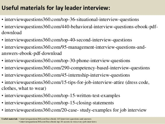 Top 10 lay leader interview questions and answers