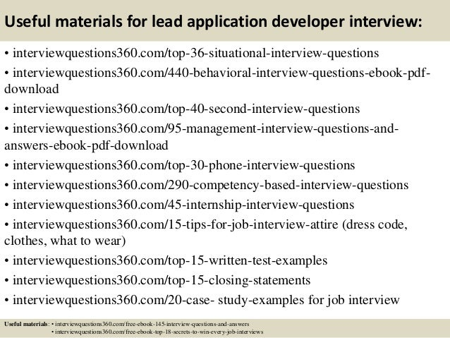 Top 10 lead application developer interview questions and ...