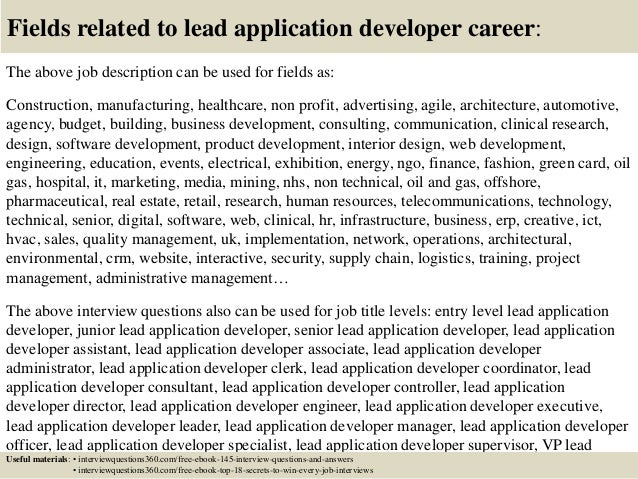 Top 10 lead application developer interview questions and answers
