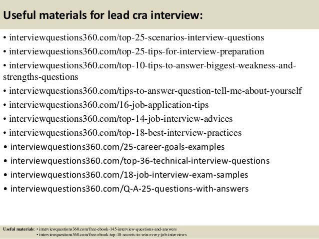 Top 10 lead cra interview questions and answers