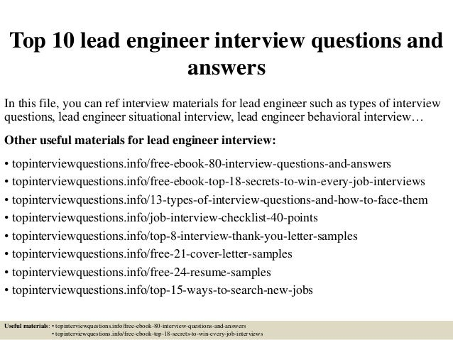 Top 10 Lead Engineer Interview Questions And Answers In This File, You Can  Ref Interview ...