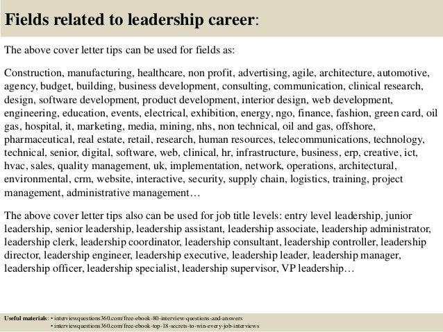 leadership cover letter - Ideal.vistalist.co
