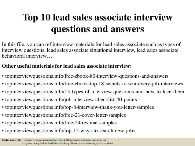 Top 10 Lead Sales Associate Interview Questions And Answers In This File,  ...