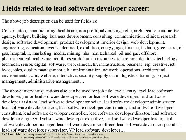 Top 10 lead software developer interview questions and answers