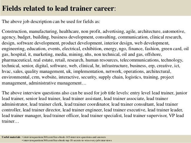 Top 10 lead trainer interview questions and answers – Personal Trainer Interview Questions