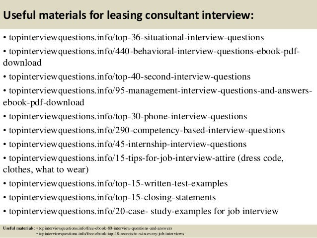 ... 12. Useful Materials For Leasing Consultant Interview: ...