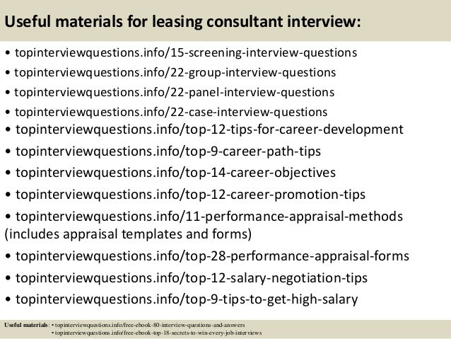 Amazing ... 15. Useful Materials For Leasing Consultant Interview: ...