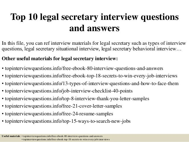Top 10 legal secretary interview questions and answers