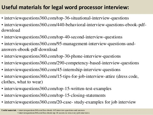 top 10 legal word processor interview questions and answers