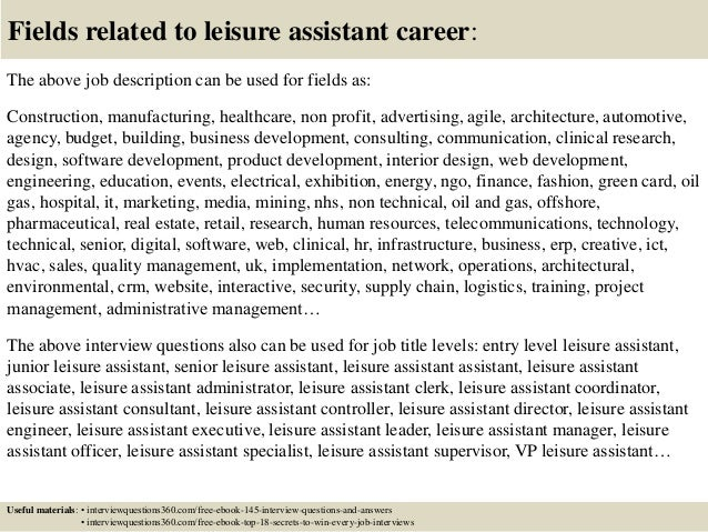 top 10 leisure assistant interview questions and answers