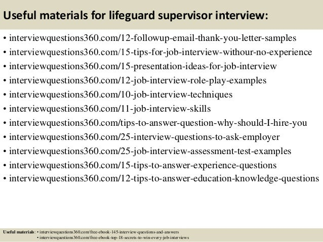 Top 10 lifeguard supervisor interview questions and answers