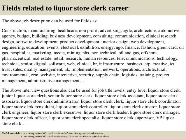 18 fields related to liquor store clerk - Liquor Store Clerk Sample Resume