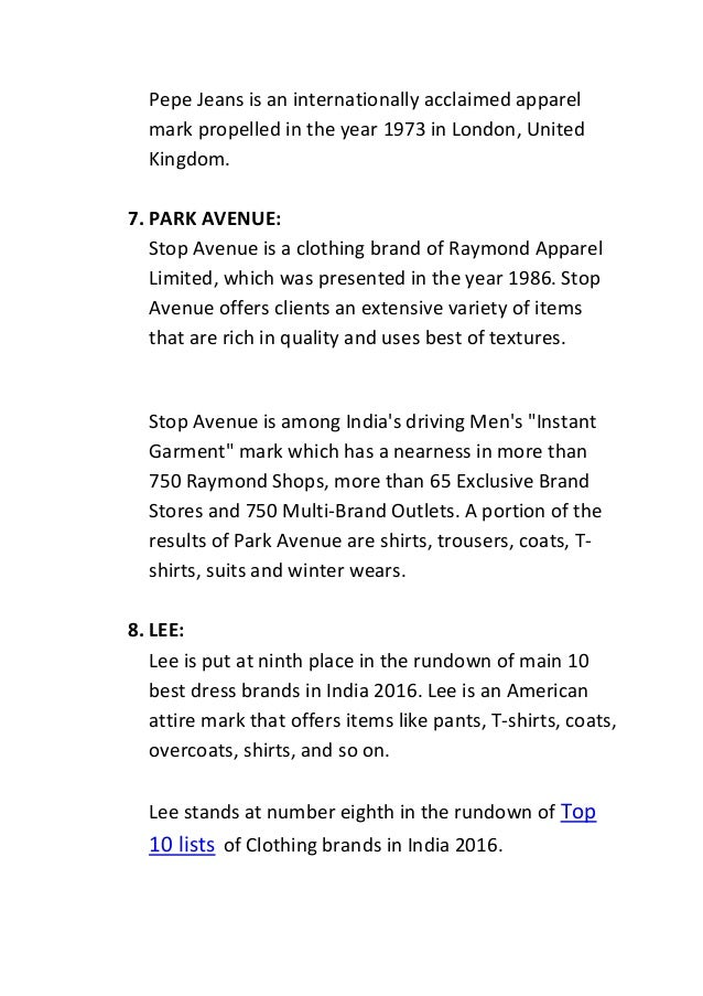 Top 10 lists of clothing brands in india