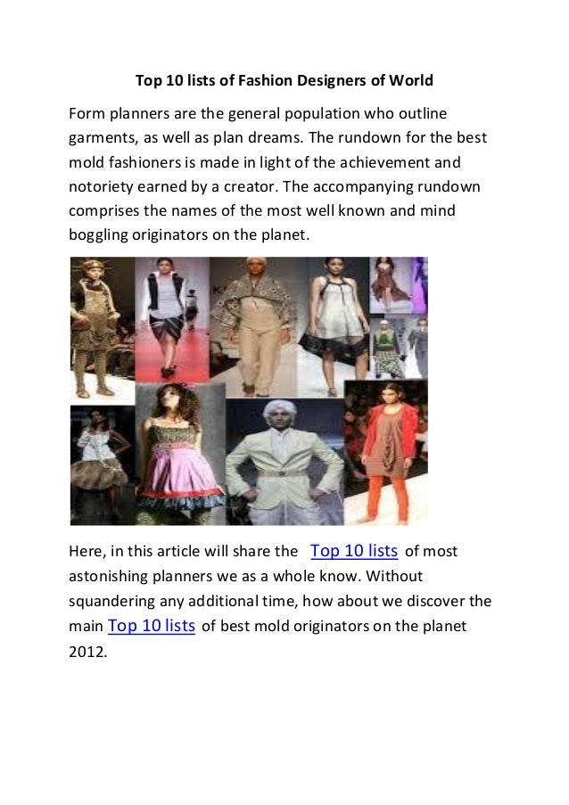 Top 10 Lists Of Fashion Designers Of World