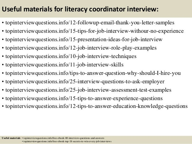 top 10 literacy coordinator interview questions and answers