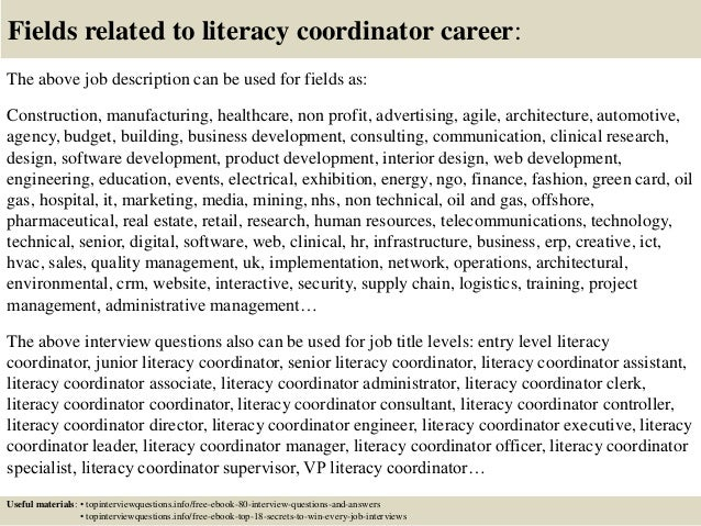 Attractive Top 10 Literacy Coordinator Interview Questions And Answers