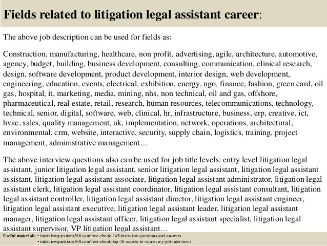 Top 10 litigation legal assistant interview questions and answers