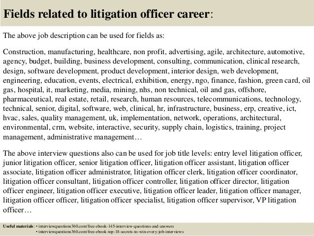 Top 10 litigation officer interview questions and answers