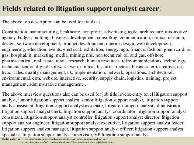 litigation support analyst cover letter - Template