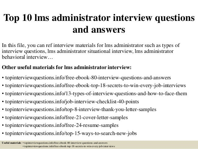 Top 10 lms administrator interview questions and answers