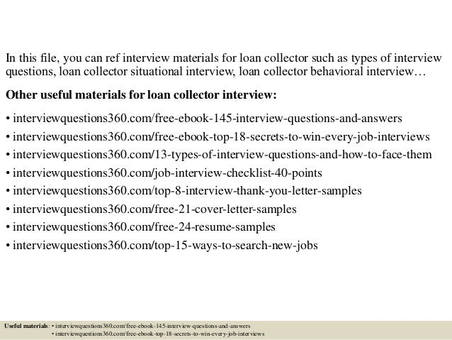 top 10 loan collector interview questions and answers - Loan Collector Sample Resume