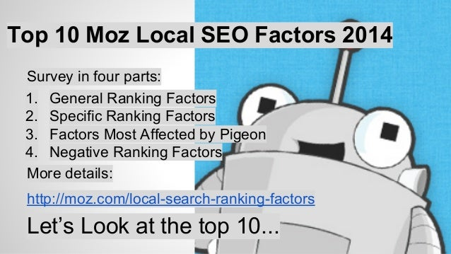 Top 10 Localized Organic Factors  1 City, State in Landing Page Title  2 Domain Authority of Website  3 Page Authority of ...