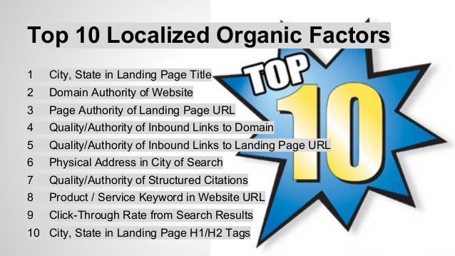 Top 10 Pack/Carousel Factors  1 Physical Address in City of Search  2 Proper Category Associations  3 Consistency of Struc...