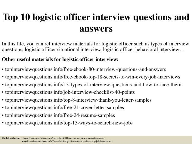 Top 10 Logistic Officer Interview Questions And Answers