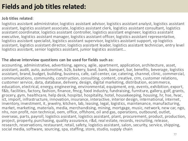 Logistics Assistant Job Description. 55; 56 47 Top 52 Logistics ...
