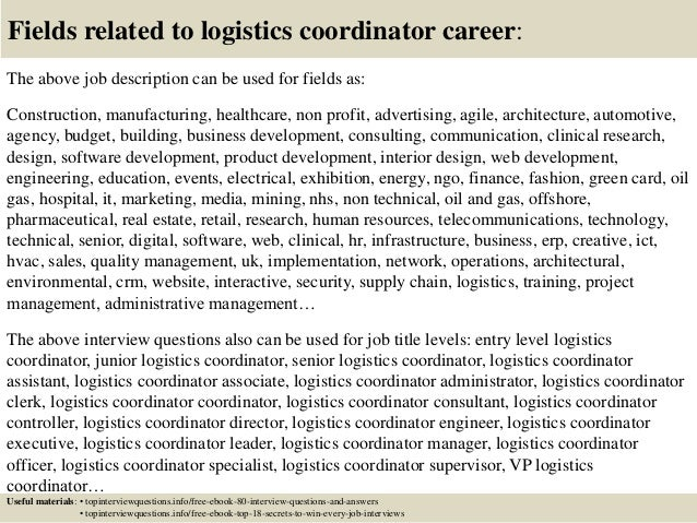 Top  Logistics Coordinator Interview Questions And Answers