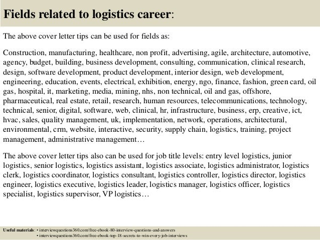 ... 16. Fields Related To Logistics Career: The Above Cover Letter ...