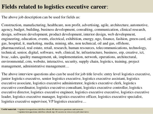 Top  Logistics Executive Interview Questions And Answers