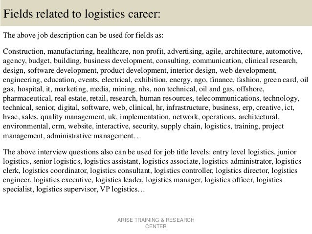 ARISE TRAINING U0026 RESEARCH CENTER; 16. Fields Related To Logistics Career:  The Above Job Description ... Great Pictures