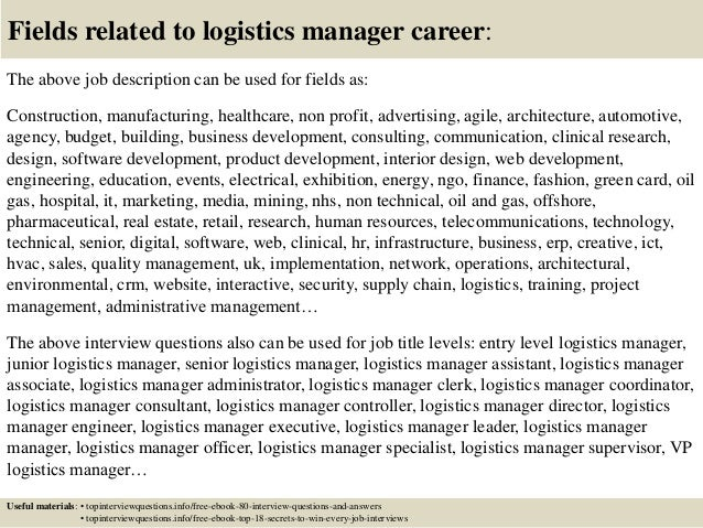 ... 17. Fields Related To Logistics Manager Career: The Above Job  Description ...