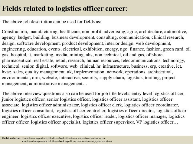 ... 17. Fields Related To Logistics Officer Career: The Above Job  Description ...