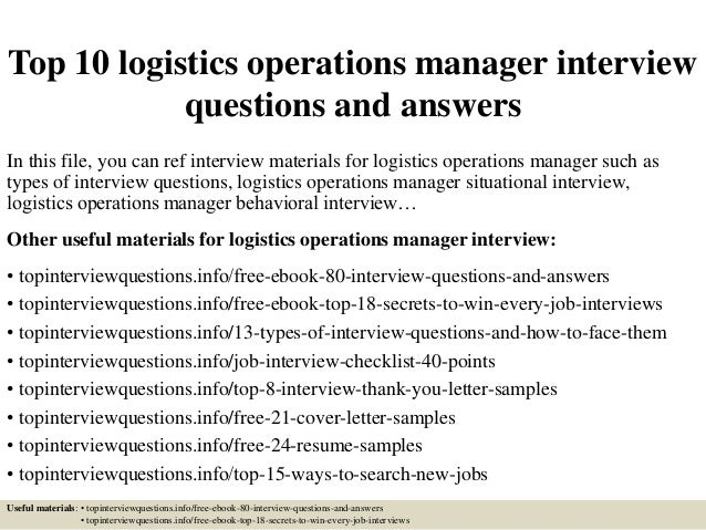 top 10 logistics operations manager interview questions