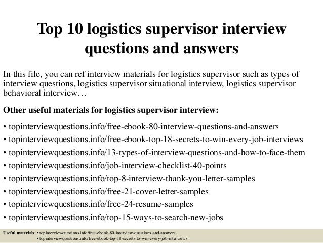 TopLogisticsSupervisor InterviewQuestionsAndAnswersJpgCb