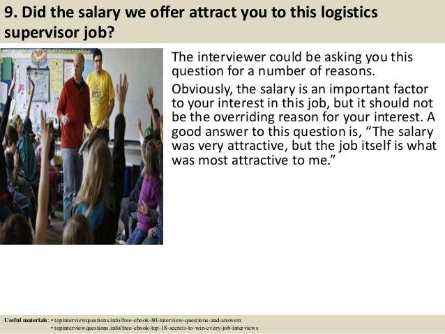Top 10 logistics supervisor interview questions and answers – Logistics Supervisor Job Description