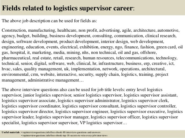 ... 17. Fields Related To Logistics Supervisor Career: The Above Job  Description ...