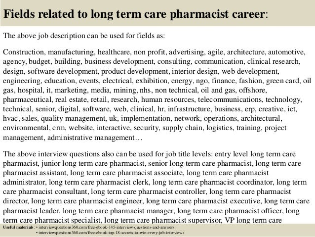 Top 10 long term care pharmacist interview questions and answers – Pharmacist Job Description