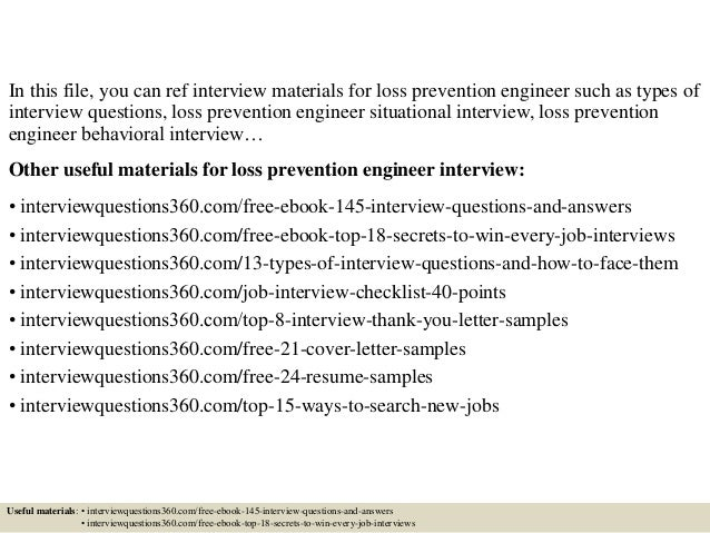 top 10 loss prevention engineer interview questions and answers. Resume Example. Resume CV Cover Letter