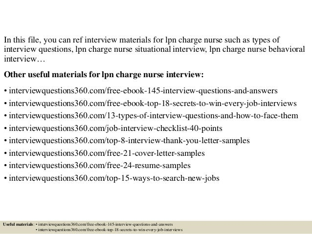 Charge Nurse Interview Questions And Answers