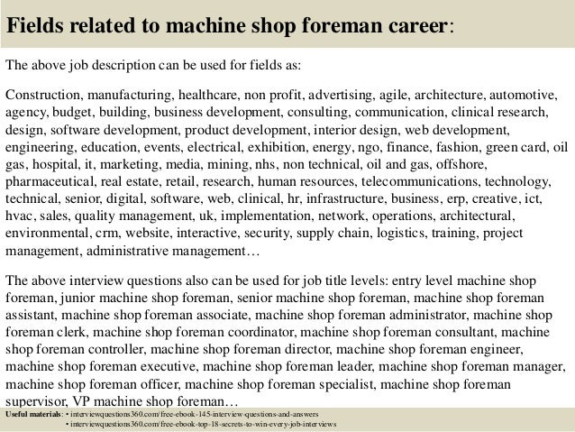 top 10 machine shop foreman interview questions and answers