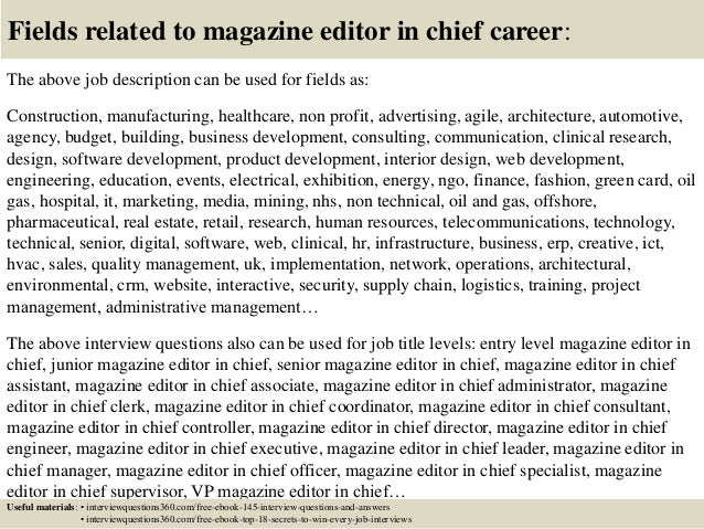 Top  Magazine Editor In Chief Interview Questions And Answers