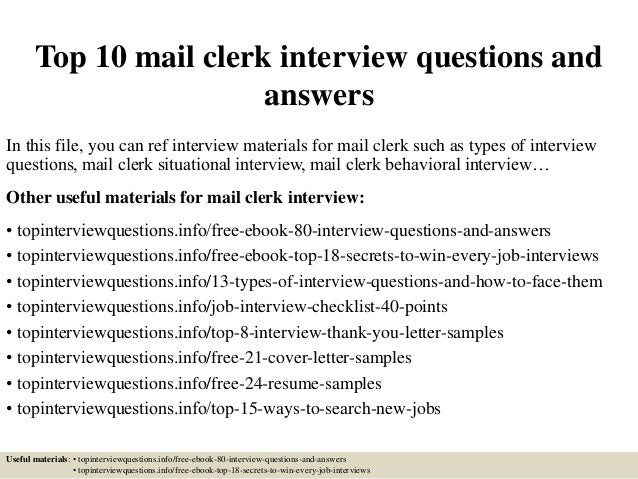 Top 10 mail clerk interview questions and answers